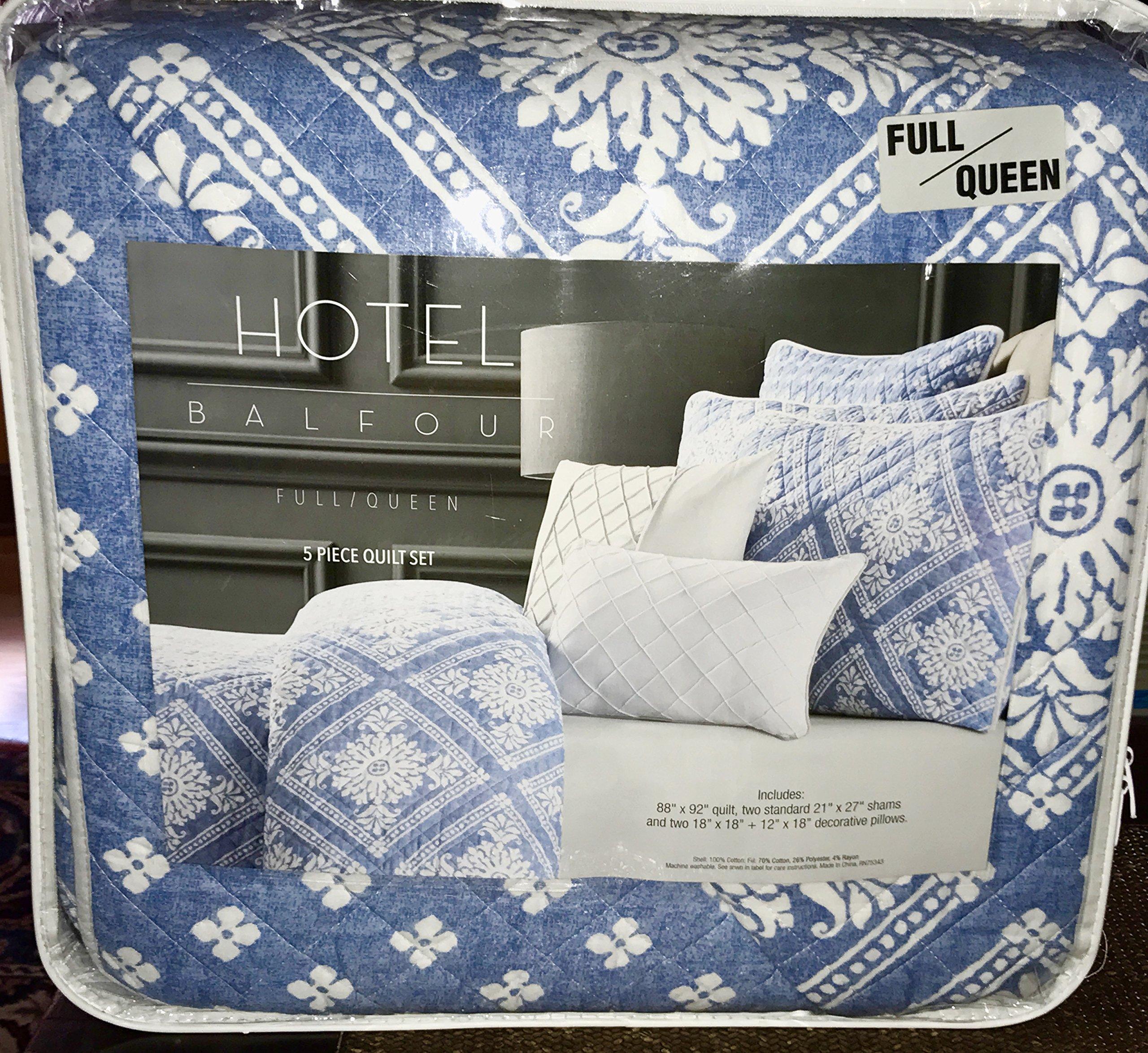 5-pc Hotel Balfour Quilt Set (Full/Queen) blue white cotton set (set includes 2 accent pillows)