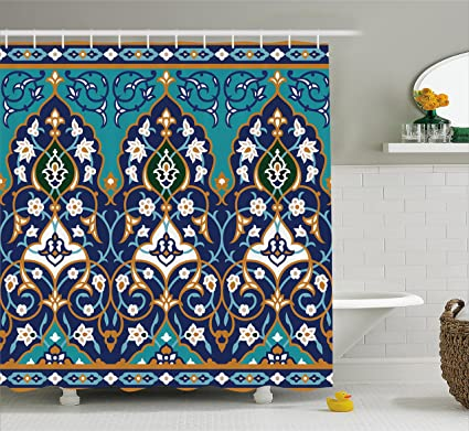 Amazon.com: Ambesonne Moroccan Shower Curtain, Ottoman Folkloric Art ...