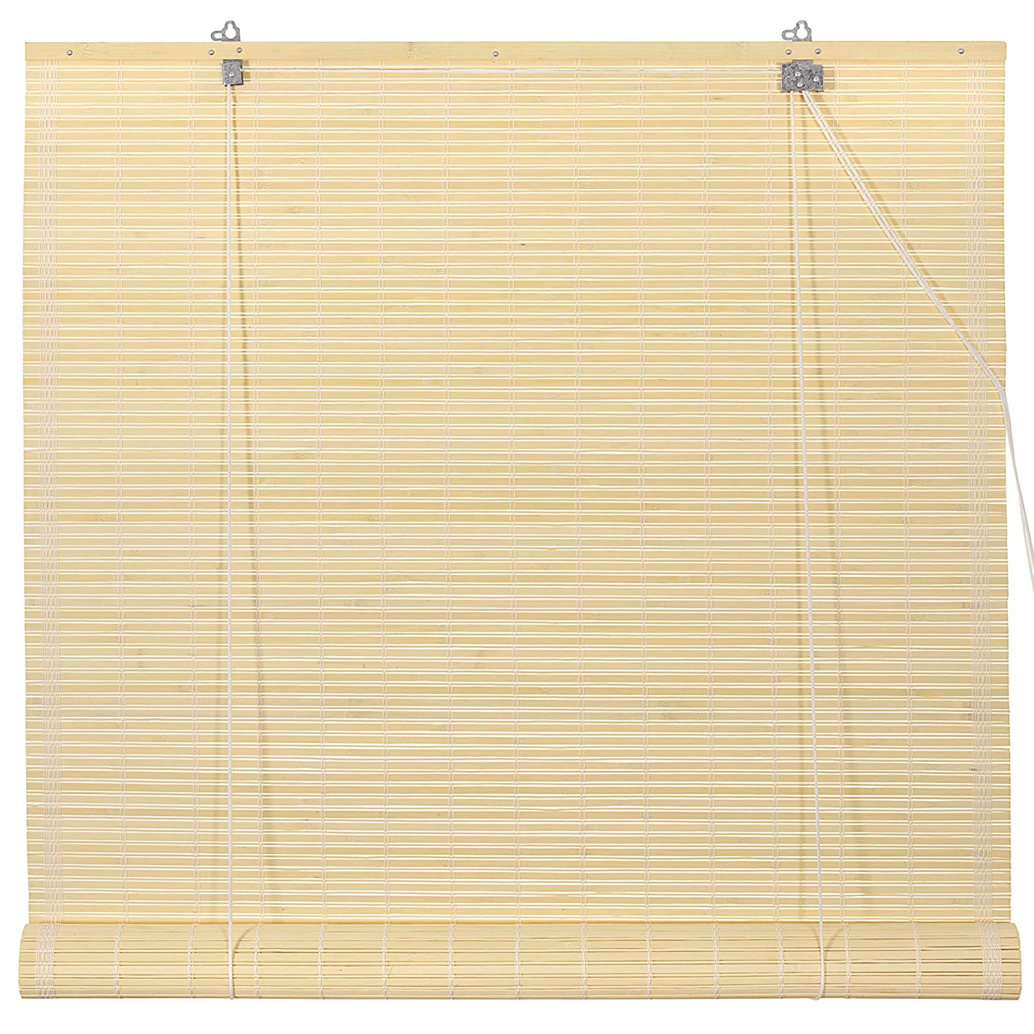 Oriental Furniture WT-YJ1-8B6-24W Burnt Bamboo Roll Up Window Blinds, Natural, 24-Inch Wide