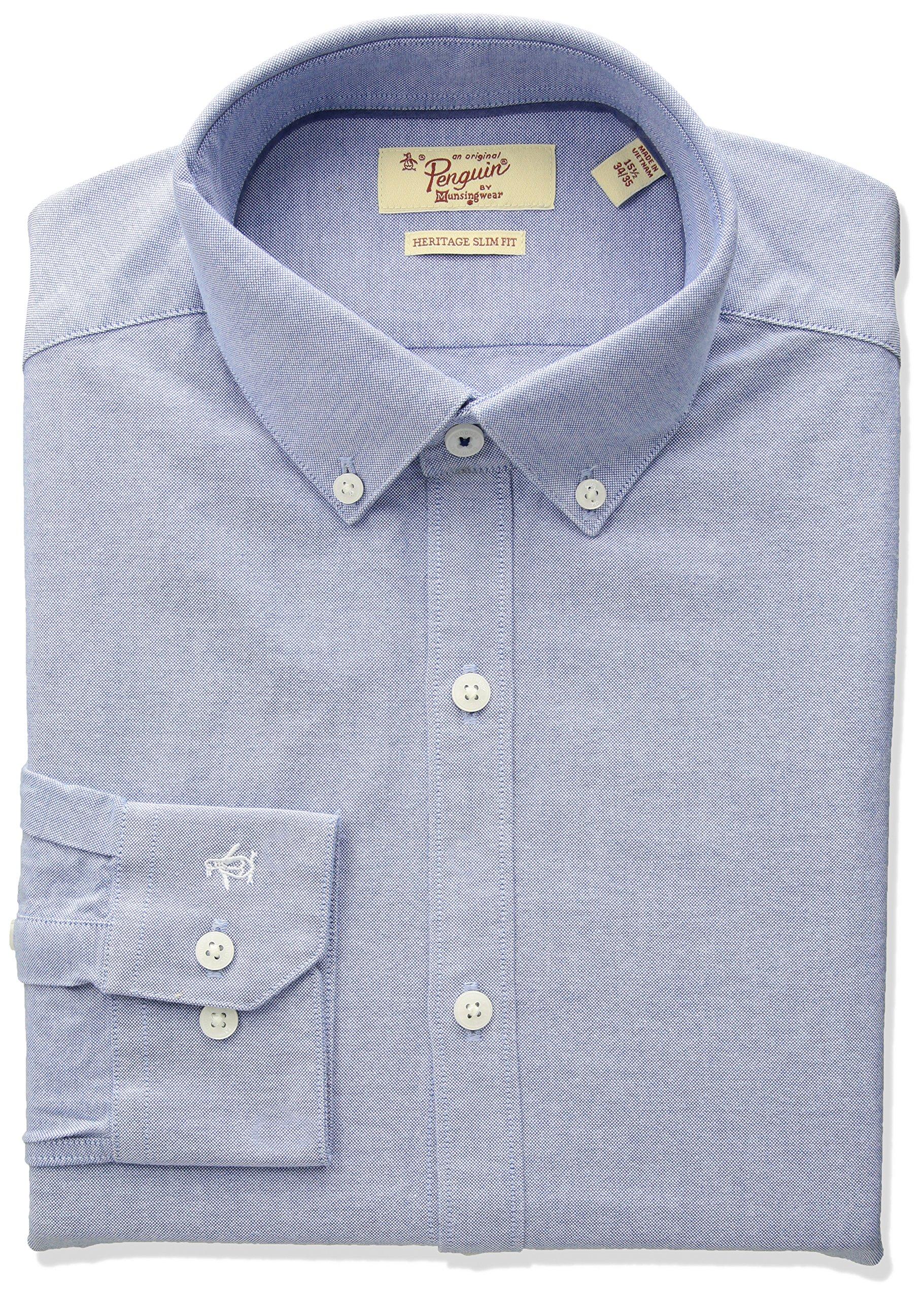 Original Penguin Men's Slim Fit Button Down Collar Oxford Dress Shirt, Blue, 17.5 36/37