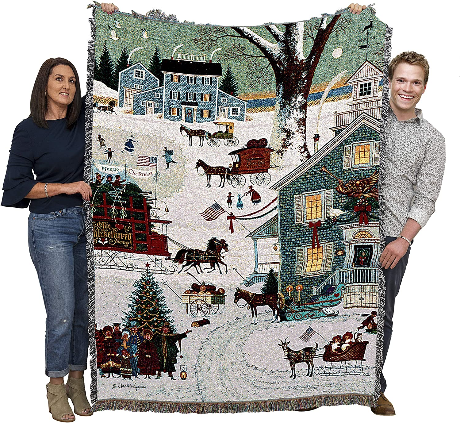 Amazon Com Cape Cod Christmas Charles Wysocki Blanket Throw Woven From Cotton Made In The Usa 72x54 Kitchen Dining