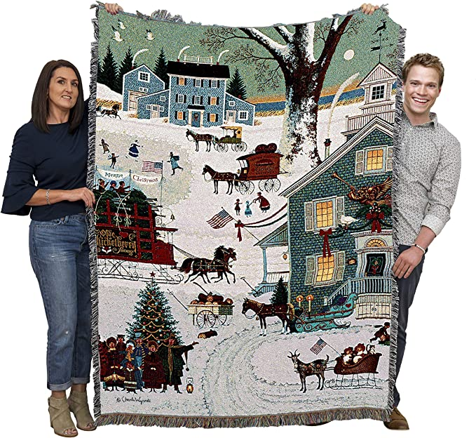 Cape Cod Christmas Charles Wysocki Blanket Throw Woven From Cotton Made In The Usa 72x54 Kitchen Dining Amazon Com