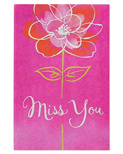 Amazon american greetings floral miss you thinking of you card american greetings floral miss you thinking of you card with glitter m4hsunfo