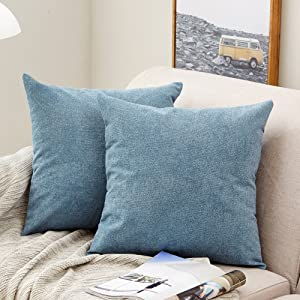 MERNETTE Pack of 2, Thick Chenille Decorative Square Throw Pillow Cover Cushion Covers Pillowcase, Home Decor Decorations for Sofa Couch Bed Chair 18x18 Inch/45x45 cm (Blue)