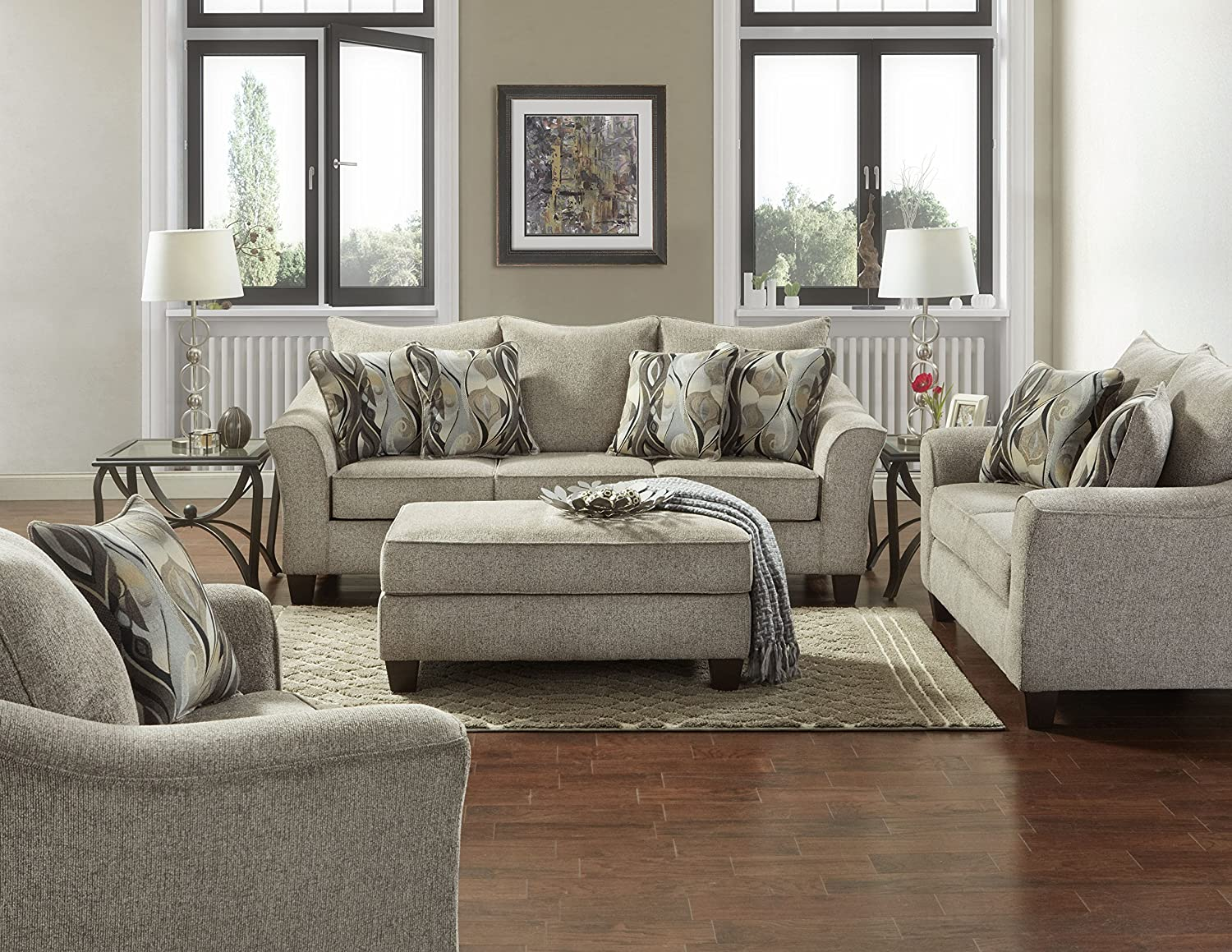 Awe Inspiring Roundhill Furniture Laf7703 02 01 05Cp Camero Platinum Fabric 4 Piece Living Room Set Home Interior And Landscaping Ponolsignezvosmurscom