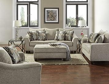 Roundhill Furniture LAF7703-02-01-05CP Camero Platinum Fabric ((4 Piece)  Living Room Set