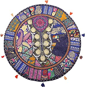 Stylo Culture Indian Round Throw Pillows for Couch Vintage Patchwork Floor Cushion Cover Dark Blue 28x28 Large Decorative Decor Seating Tuffet Seat Pouf Cover Footstool Cotton Embroidered 1 Pc