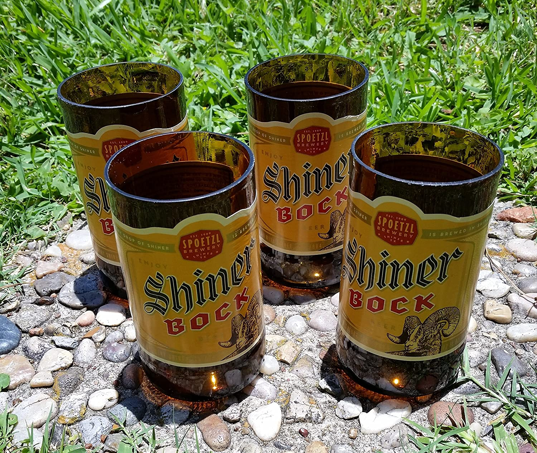 Set of 4 Shiner Bock upcycled glasses