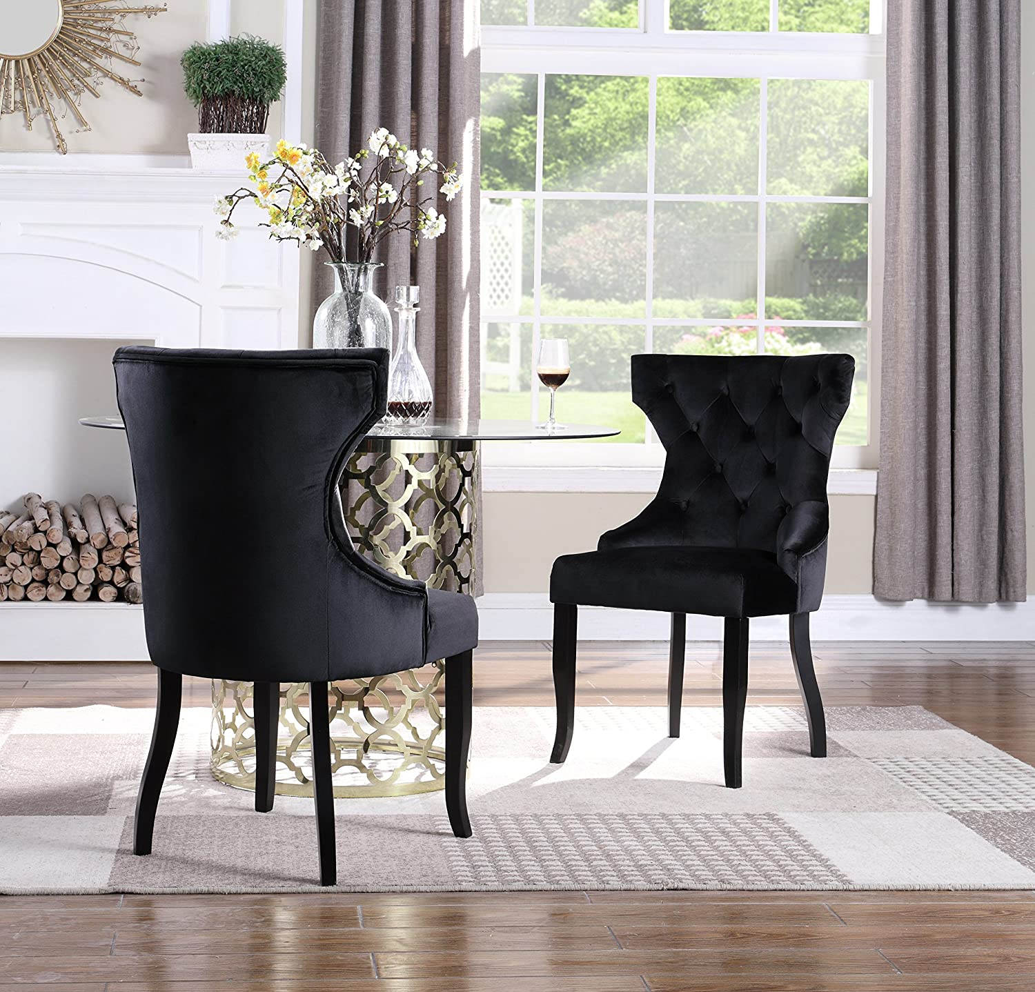 Iconic Home Naomi Wingback Dining Chair Button Tufted Velvet Upholstered Tapered Espresso Wood Legs, Modern Transitional, Black, Set of 2
