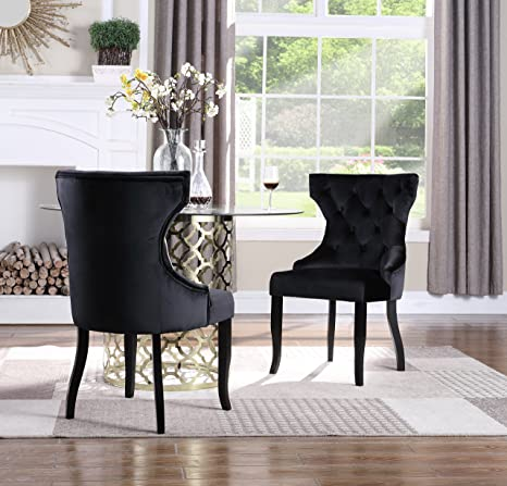 Surprising Iconic Home Naomi Wingback Dining Chair Button Tufted Velvet Upholstered Tapered Espresso Wood Legs Modern Transitional Black Set Of 2 Pabps2019 Chair Design Images Pabps2019Com