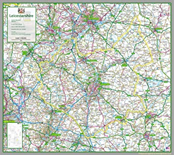 Leicestershire Uk Map.Leicestershire Uk County Map Paper Laminated 83 X 93 Cm Amazon