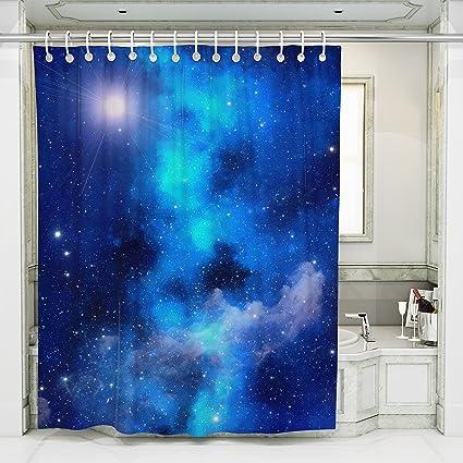 Star Sky Art Bathroom Shower CurtainsBright Blue Nebula Space Pattern Print Non
