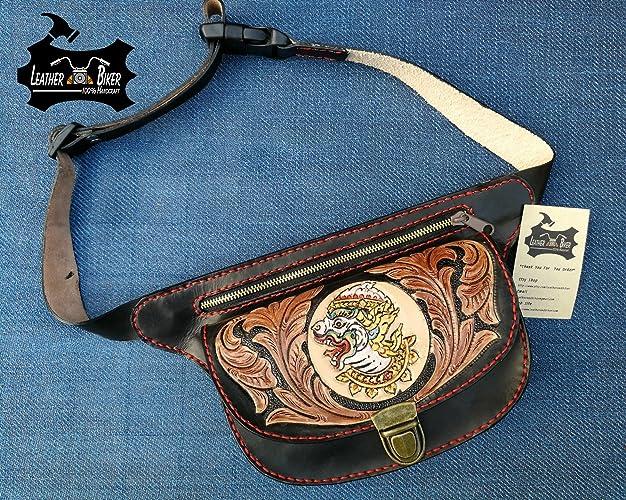 93af9aec037e Amazon.com  Hand Tooled Leather Waist Bag Men Belt Bag Hip Bag Fanny Pack  for Men Ravana Design Vegetable Tanned Leather  Handmade