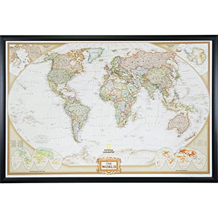 Amazon craig frames wayfarer executive world push pin travel craig frames wayfarer executive world push pin travel map gallery black frame and pins gumiabroncs