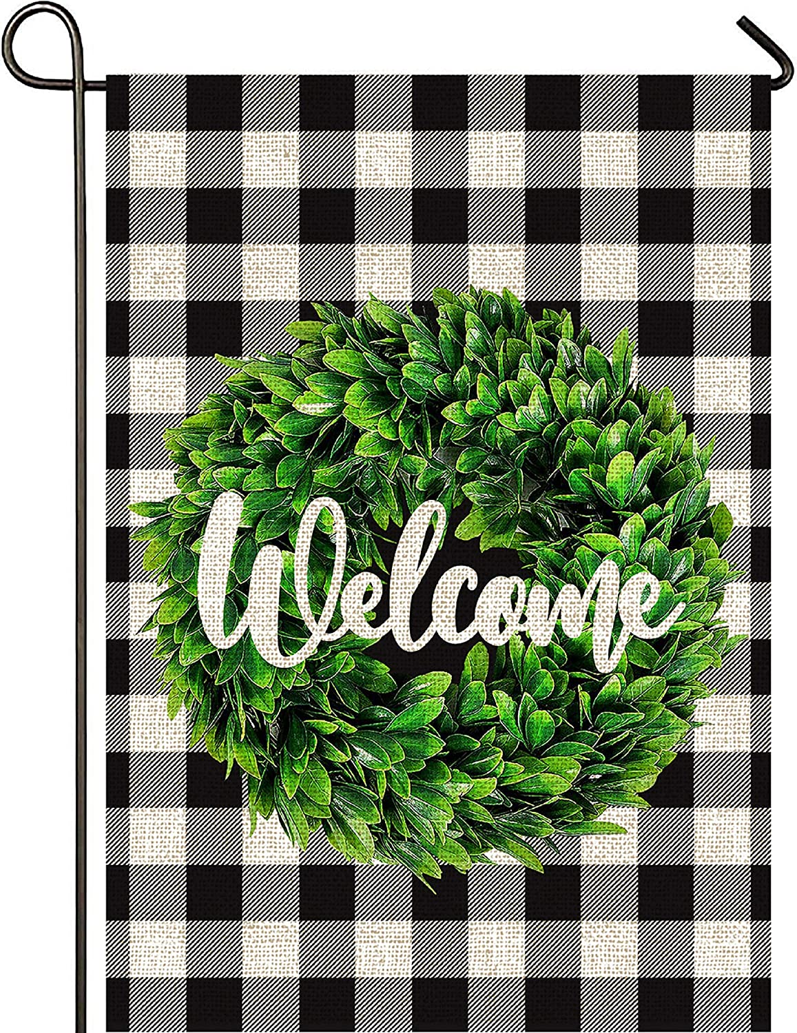 Mogarden Welcome Boxwood Wreath Garden Flag, Double Sided, 12.5 x 18 Inches, Buffalo Check Plaid Thick Weatherproof Burlap Fall Small Yard Flag