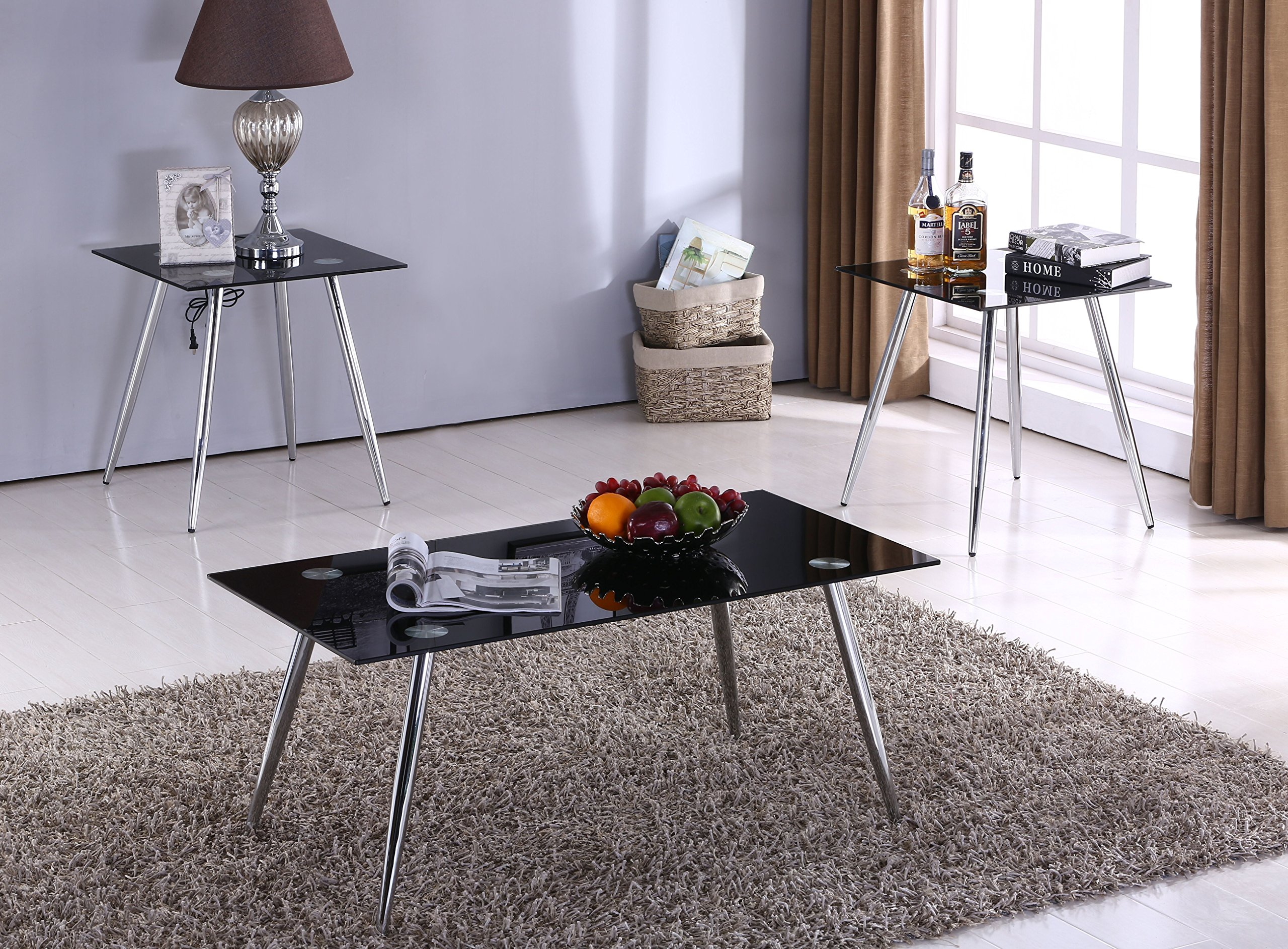 Kings Brand Furniture 3 Piece Glass Coffee Table & 2 End Tables Occasional Set, Chrome/Black