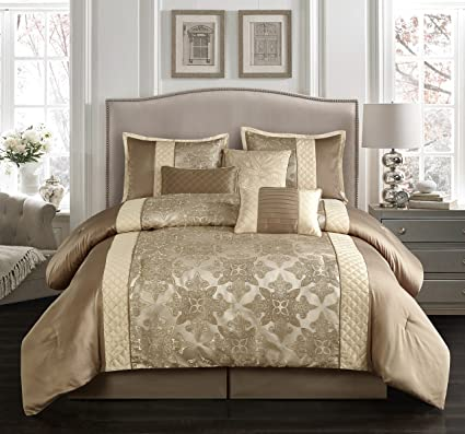 Nanshing Q Montage Collection Bedroom Comforter Complete 7 Piece Set Queen  Taupe