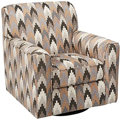 Benchcraft Braxlin Contemporary Patterned Accent Swivel Armchair   Charcoal  Toned