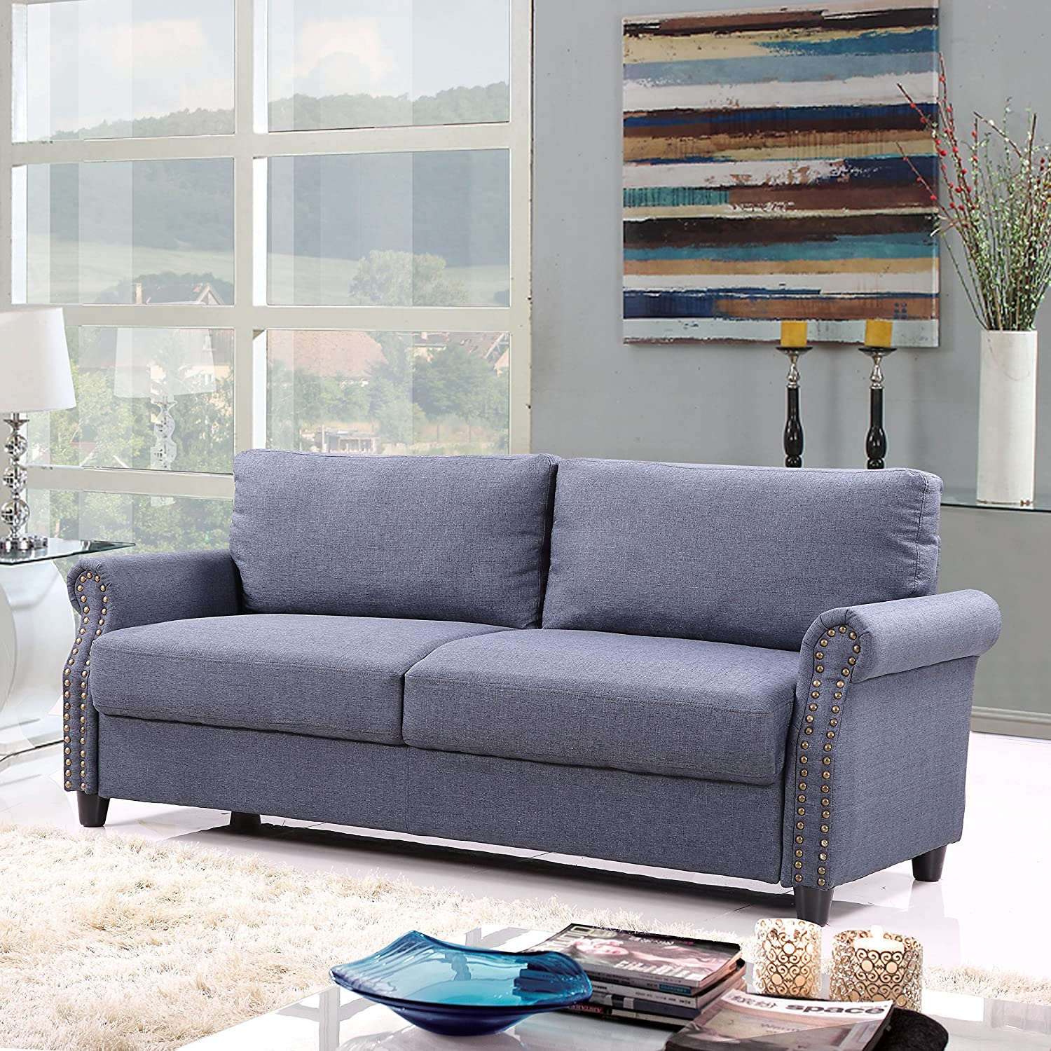 Amazon Classic Living Room Linen Sofa with Nailhead Trim