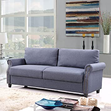 living room furniture amazon. Classic Living Room Linen Sofa with Nailhead Trim Furniture Set  Storage Blue Amazon com