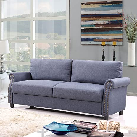 Classic Living Room Linen Sofa With Nailhead Trim Furniture Set With  Storage (Blue)