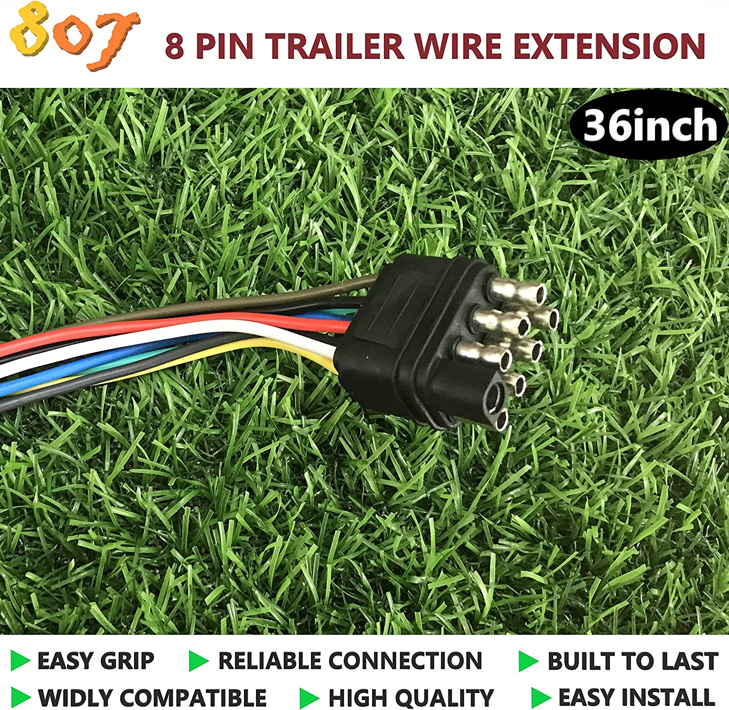 Amazon.com: 807 8 pin Trailer Connector,8 Way Square Trailer Connector Plug  36inch for LED Brake Tailgate Light Bars,Hitch Light Trailer Wiring Harness  Extension Connector(8 Way Square Plug): AutomotiveAmazon.com