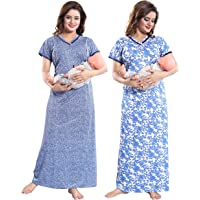 TUCUTE Women Beautiful Print with Invisible Zip + Floral Print Feeding/Maternity/Nursing Nighty/Night Gown/Night Dress/Nightwear (Free Size) (Pack of 2 Pcs)