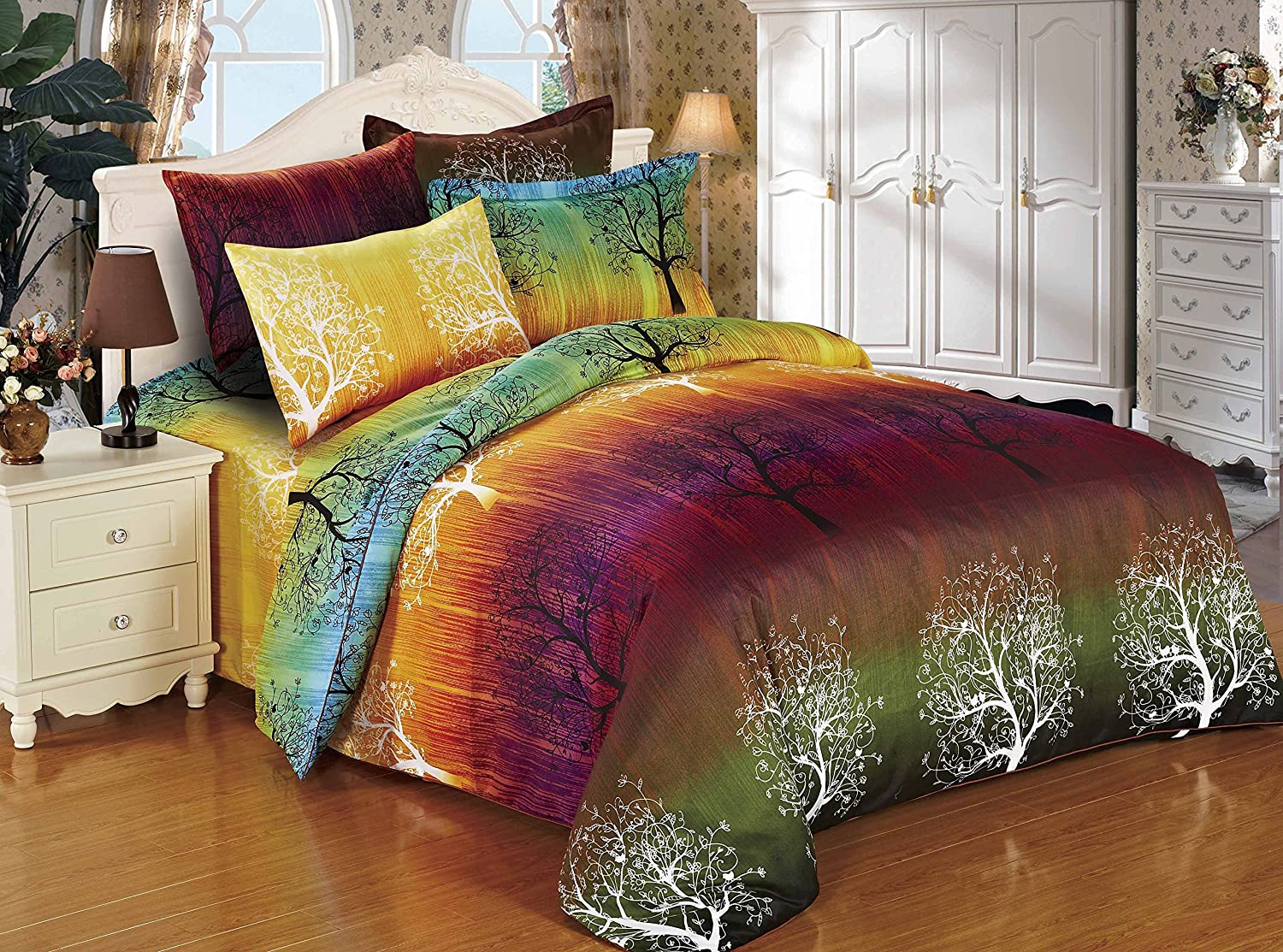 Swanson Beddings 4pc Rainbow Tree Duvet Cover Set: Duvet Cover, Fitted Sheet and Two Matching Pillowcases (Queen)