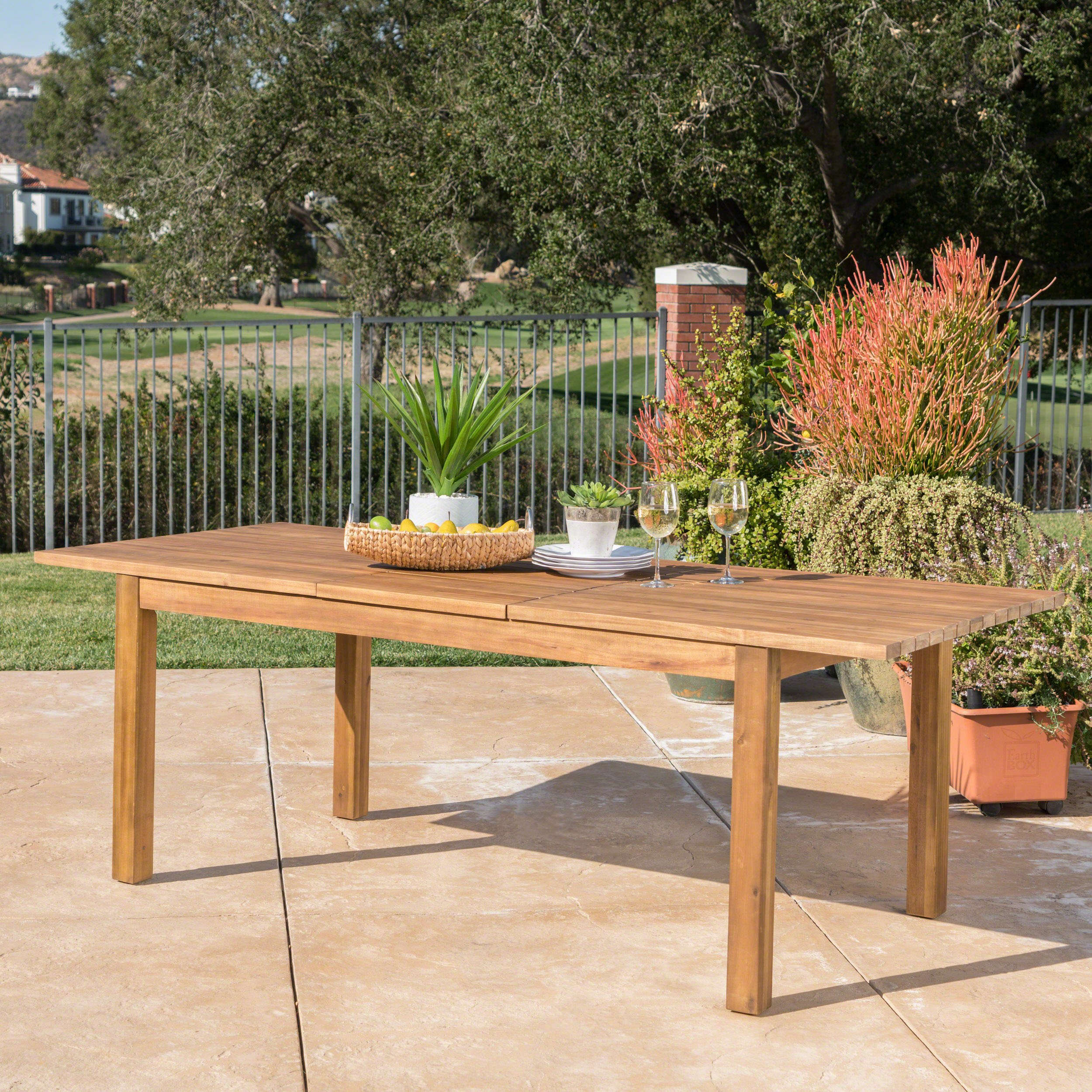 Christopher Knight Home Willim Outdoor Expandable Teak Finished Acacia Wood Dining Table