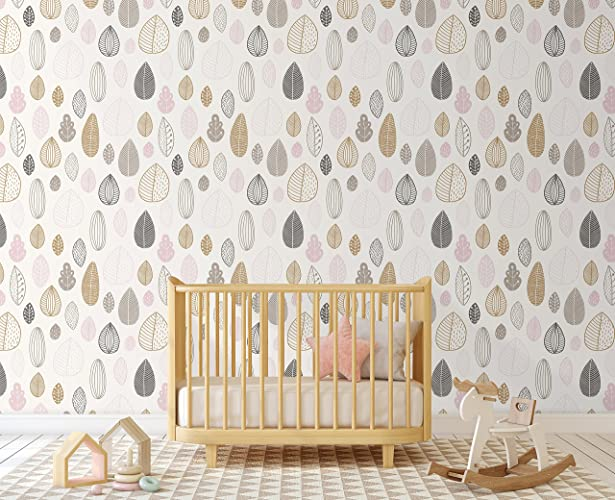 Modern Scandinavian Style Tree Leaves Removable Wallpaper For Kids Room Nursery Self Adhesive Wall