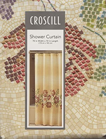 Mosaic Floral Stone Spice Fabric Shower Curtain