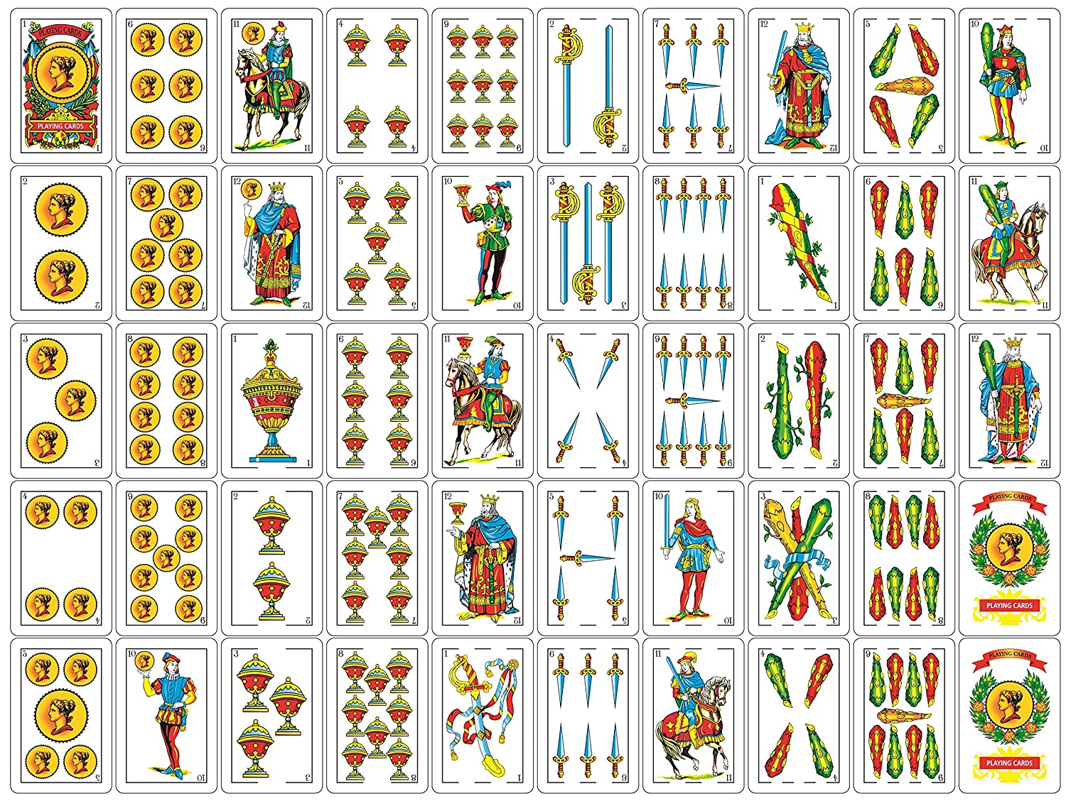 Liliane Collection Spanish Playing Cards - Full Deck with 50 Cards - Smooth Plastic Coated Cards – cartas Barajas o Naipes Espanoles in a Beautifully ...