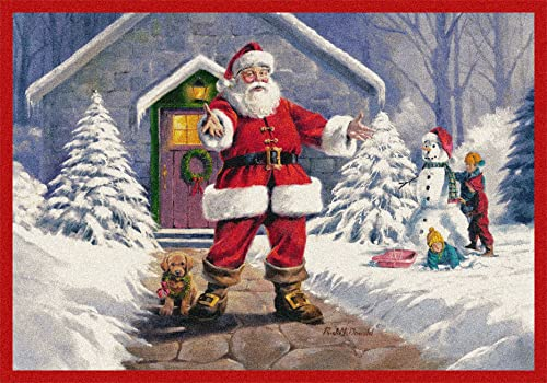 Milliken Holiday Collection Welcome Santa, 5 4 X7 8 Rectangle, 02002