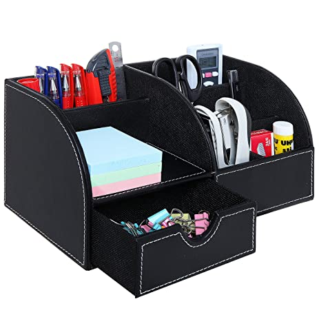 Charming Black Leatherette Multi Compartment Office Desktop Supply Holder Caddy  Organizer With Drawer