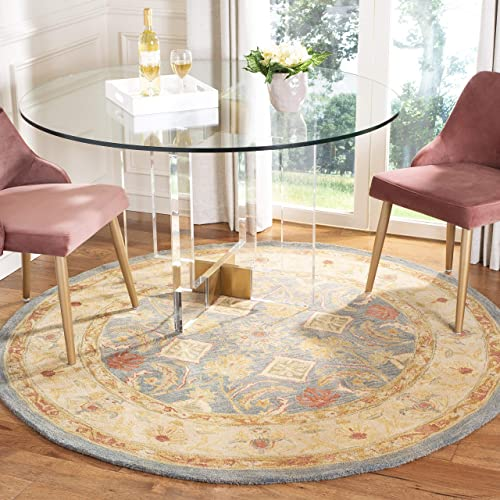 Safavieh Anatolia Collection AN544D Handmade Traditional Oriental Light Blue and Ivory Wool Round Area Rug 6 Diameter
