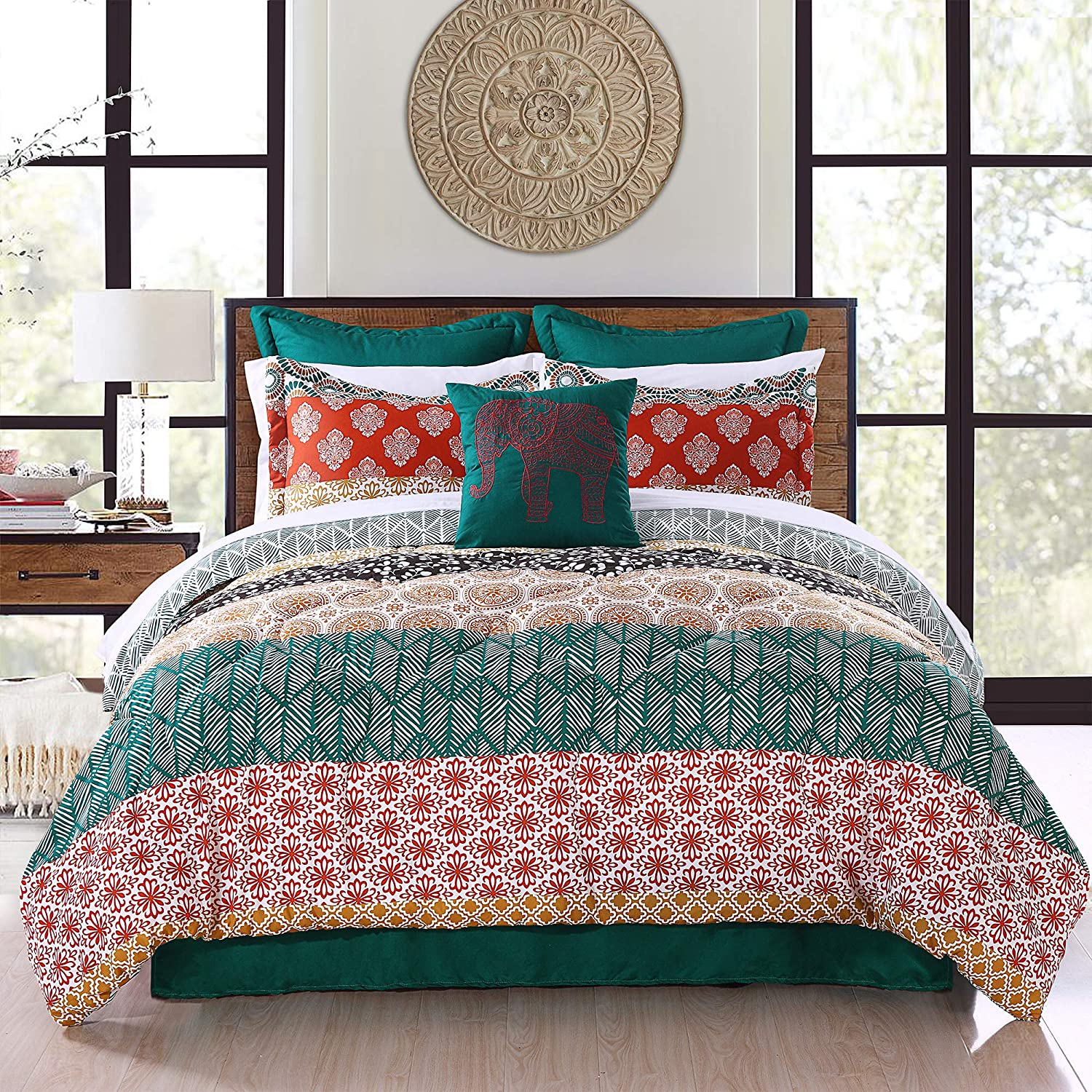 Lush Decor Bohemian Stripe Comforter-Colorful Pattern Boho Style Reversible 7 Piece Bedding Set-King-Turquoise and Orange, Turquoise & Orange