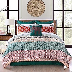 Lush Decor Bohemian Stripe Comforter-Colorful Pattern Boho Style Reversible 7 Piece Bedding Set-Full Queen-Turquoise and Orange, Turquoise & Orange