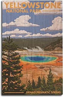 product image for Lantern Press Yellowstone National Park, Wyoming - Grand Prismatic Spring (10x15 Wood Wall Sign, Wall Decor Ready to Hang)