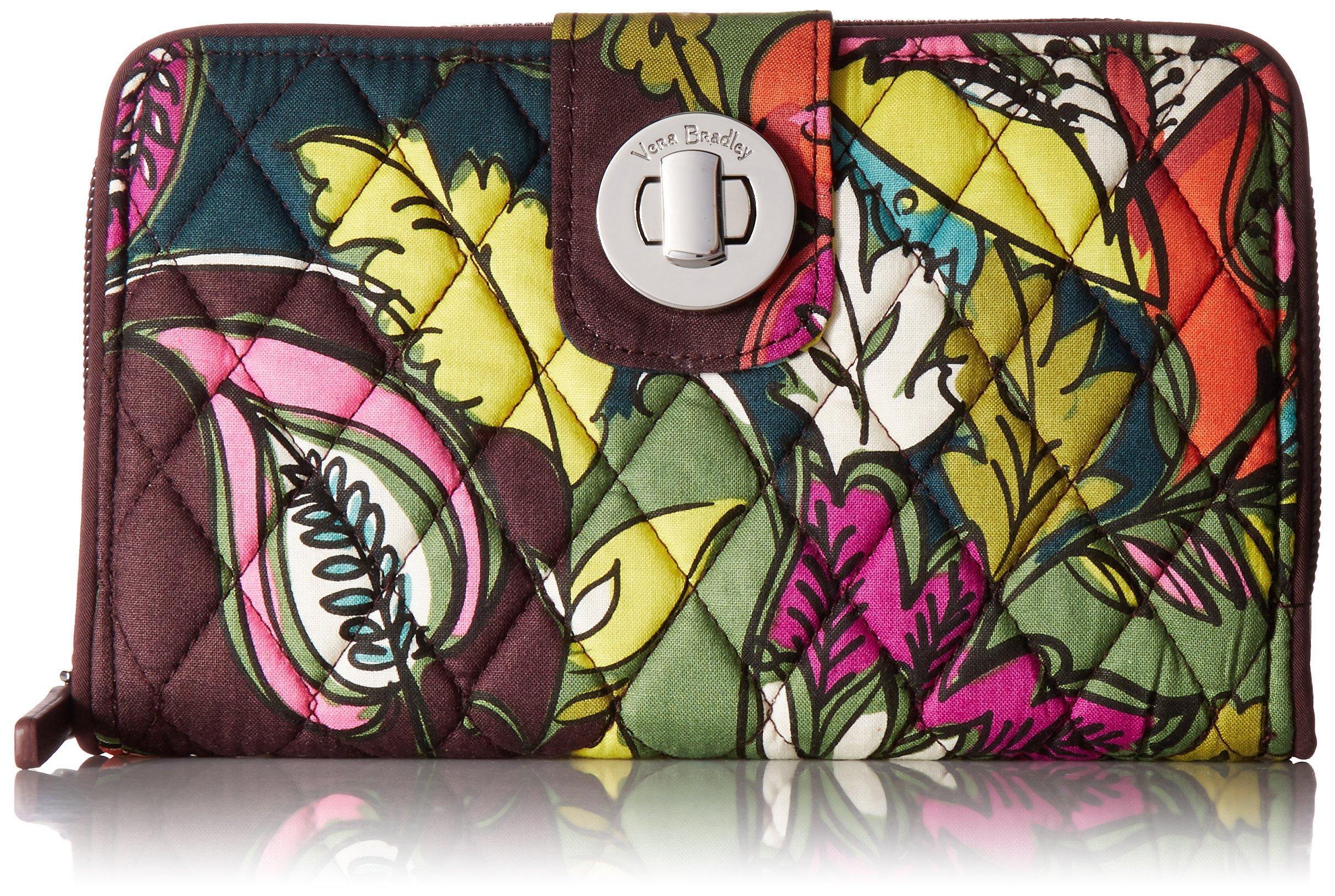 Vera Bradley Women's Rfid Turnlock Wallet, Autumn Leaves, One Size
