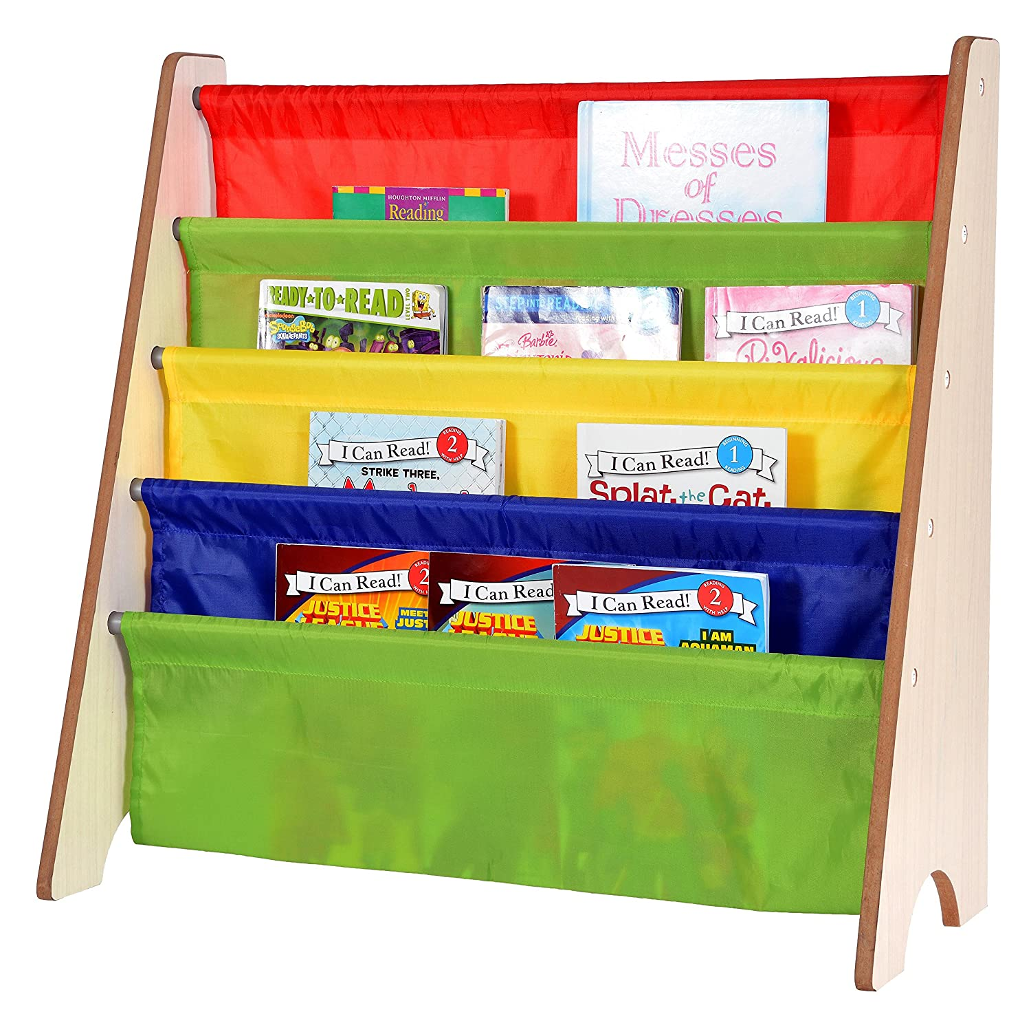 Amazon.com: Naomi Home Kids Toy Sling Book Rack, Pastel Colors/White ...