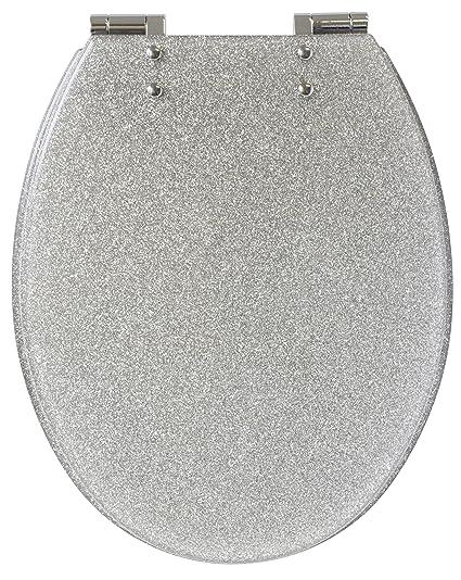 Enjoyable Gelco 709563 Glitter Toilet Seat Slow Close Resin Silver 46 X 34 X 7 5 Cm Theyellowbook Wood Chair Design Ideas Theyellowbookinfo