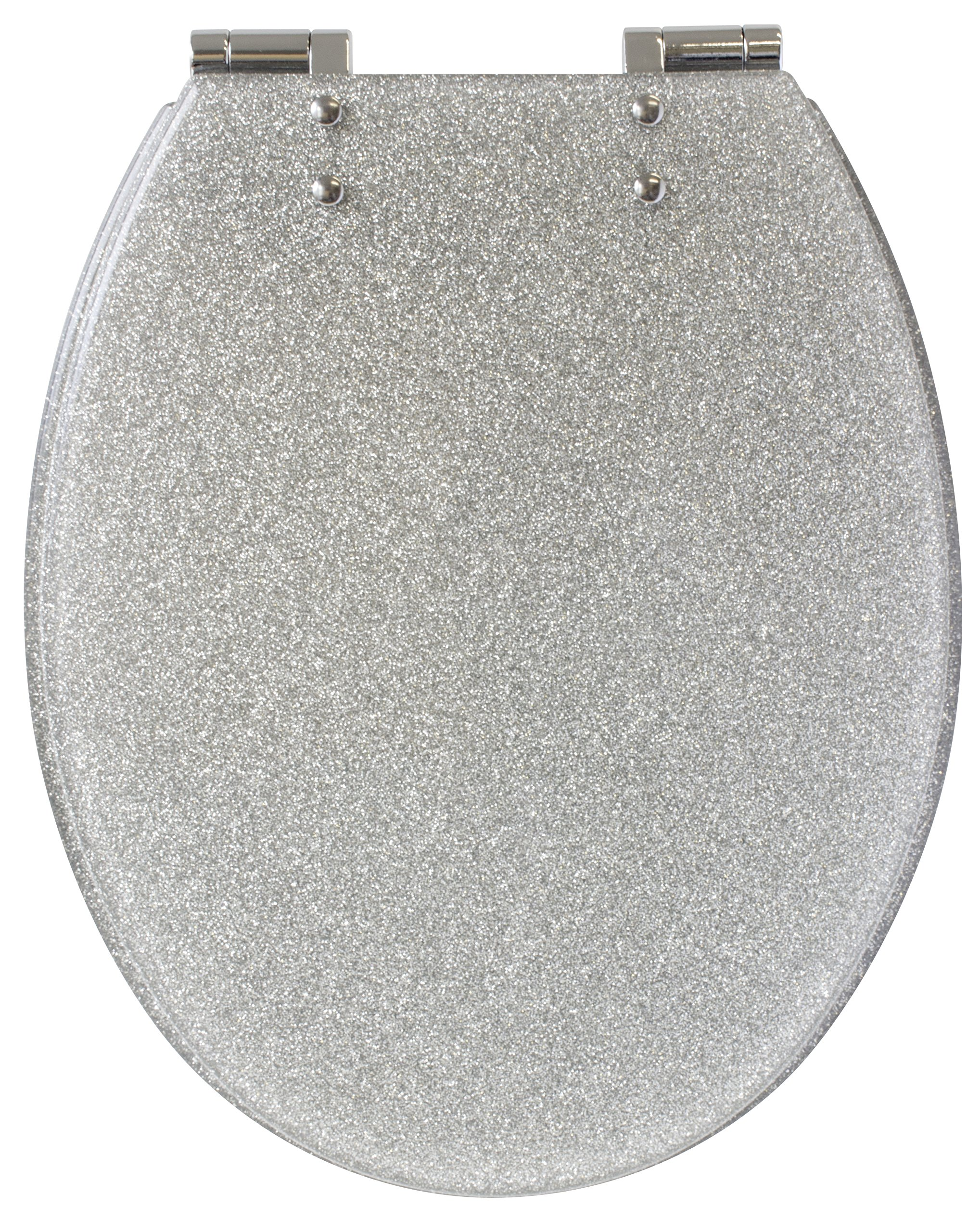 Gelco 709563Glitter Toilet Seat Slow Close Resin Silver 46x 34x 7.5cm