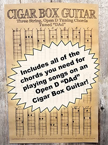 Amazon.com: Chords Poster for 3-string Cigar Box Guitars - all the ...