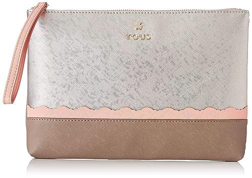1dcfb6181 Tous Clutch CARLATA Plata-Rosa, Bolso de mano para Mujer, Plateado, 29x19x1