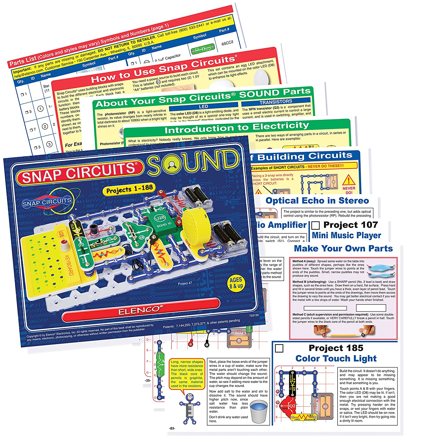 Snap Circuits Sound Electronics Exploration Kit 185 Fun Stem Circuit Manual Projects 4 Color Project