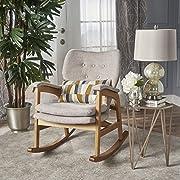 Christopher Knight Home 301992 Bethany Mid Century Fabric Rocking Chair (Wheat), Light Walnut