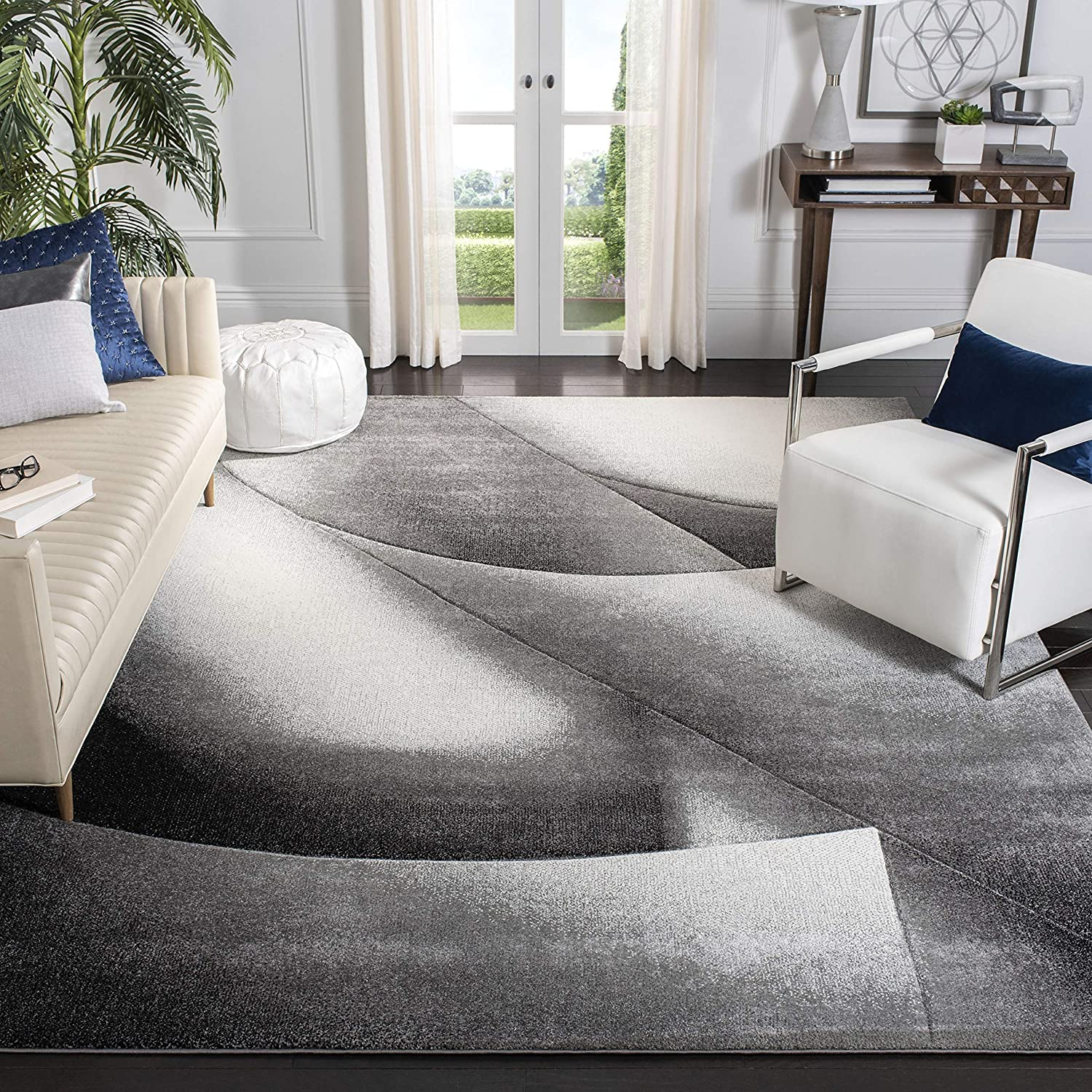 Safavieh Hollywood Collection Hlw716g Mid Century Modern Non Shedding Stain Resistant Living Room Bedroom Area Rug 8 X 10 Grey Dark Grey Furniture Decor