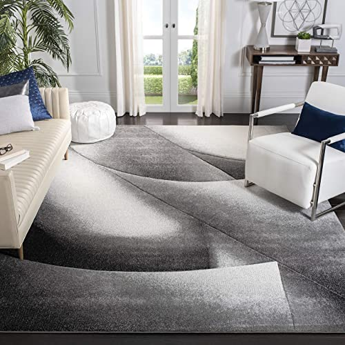 Safavieh Hollywood Collection HLW716G Grey and Dark Grey Mid-Century Modern Abstract Area Rug 8 x 10
