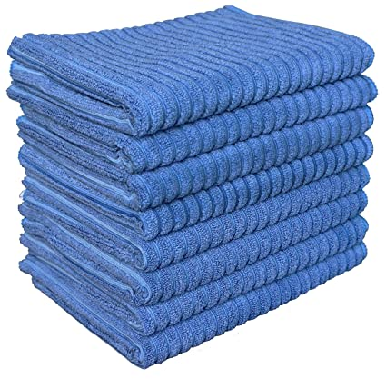 Gryeer Microfiber Kitchen Towels - Super Absorbent Dish Towels - One Side  Ribbed One Side Smooth Tea Towels, 26x18 Inch, Pack of 8, Blue