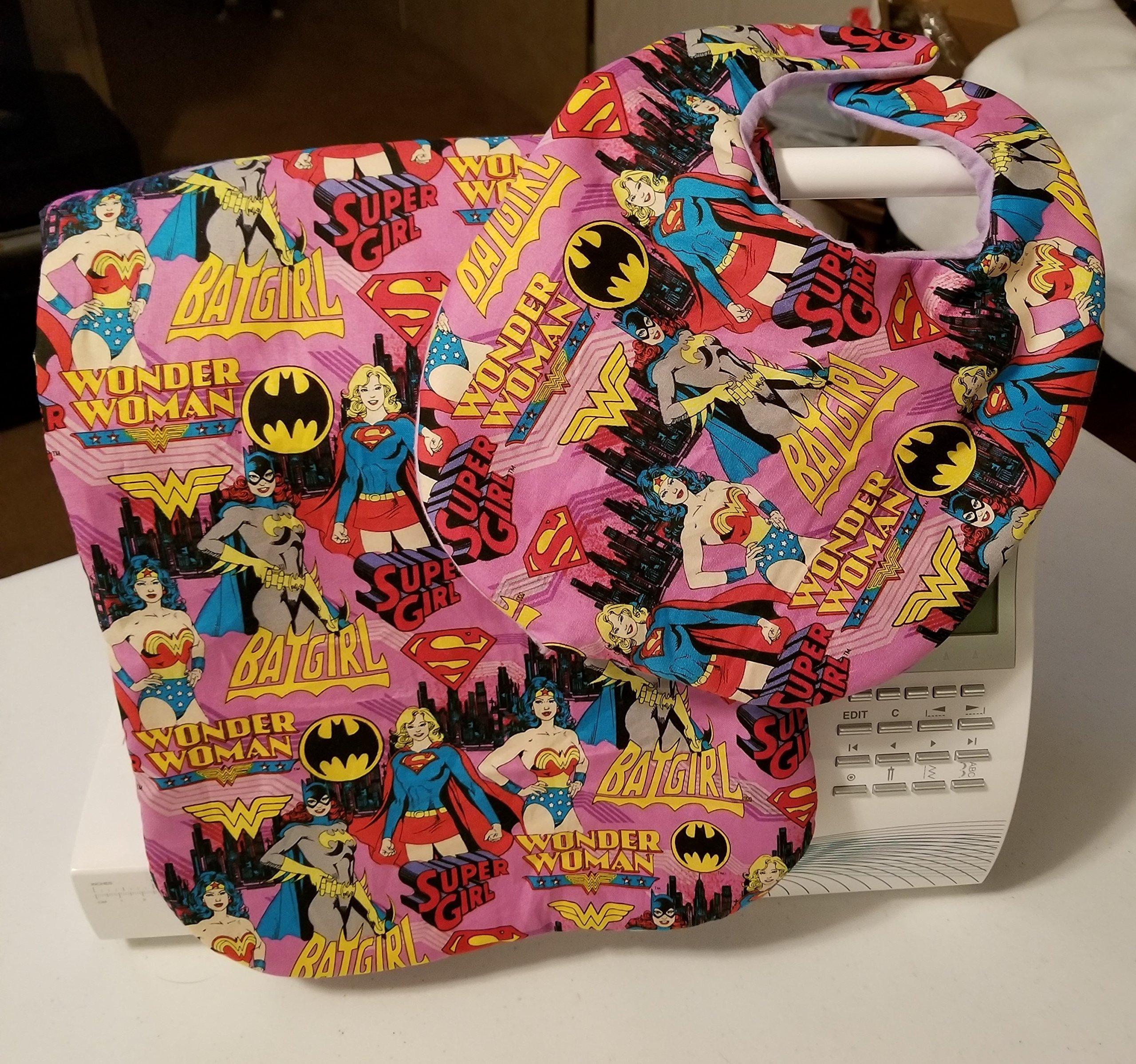Wonder woman and Bat Girl Bib and Burp Cloth set